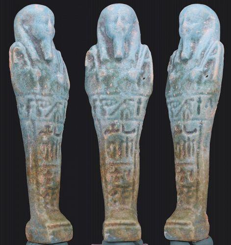 Ancient Egyptian faience Shabti of Negerin born to Heturu 12cm.