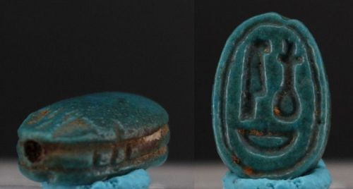 Ancient egyptian motto scarab with torquise blue glaze 13mm