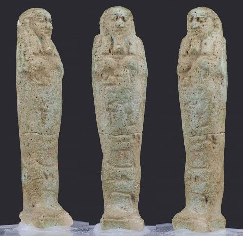 Ancient egyptian faience shabti for Nes-Amun 7,5 cm published.