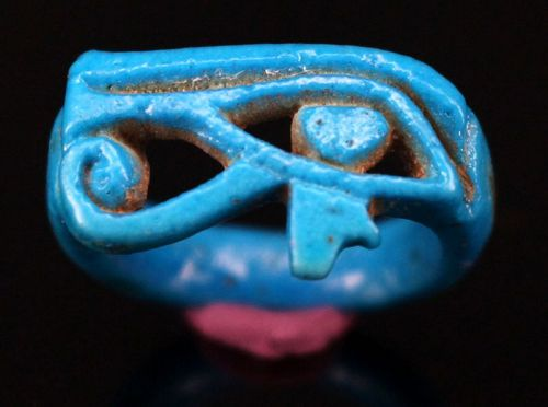 Egyptian Amarna blue Faience Wadjat Eye Ring 2,3 cm.