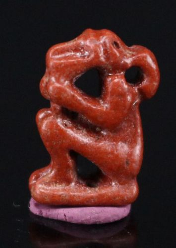 Ancient Egyptian Red Fainence Monkey Amulet 1,2 cm