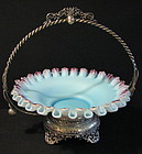 Victorian Silverplate & Satin Glass Bride's Basket