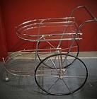 Mid-Century Modern Glass & Chrome Tea/Bar Cart