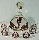 Art Deco Czech Glass Decanter Set