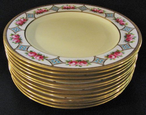 Antique Royal Crown Chelsea Thomas Morris English Porcelain Plates