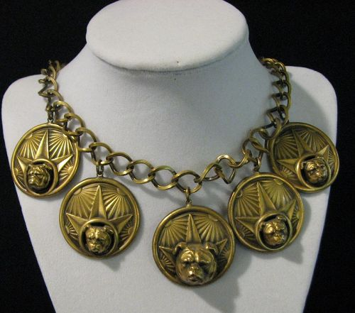Joseff of Hollywood Brass Bulldog Necklace