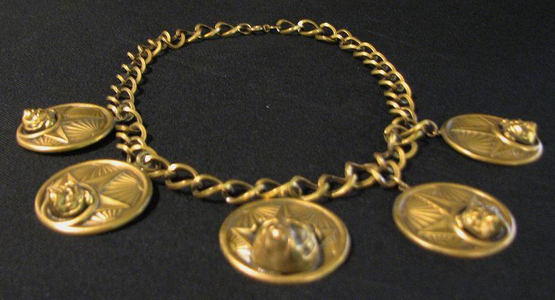 Joseff of Hollywood Brass Bulldog Necklace