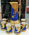 Limoges Cobalt & Gilded Tankard with Cups