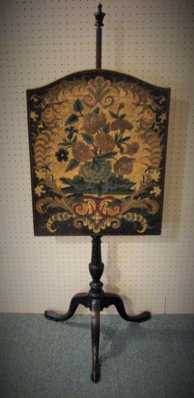 Antique Tri Foot Mahogany & Needlepoint Fire Screen
