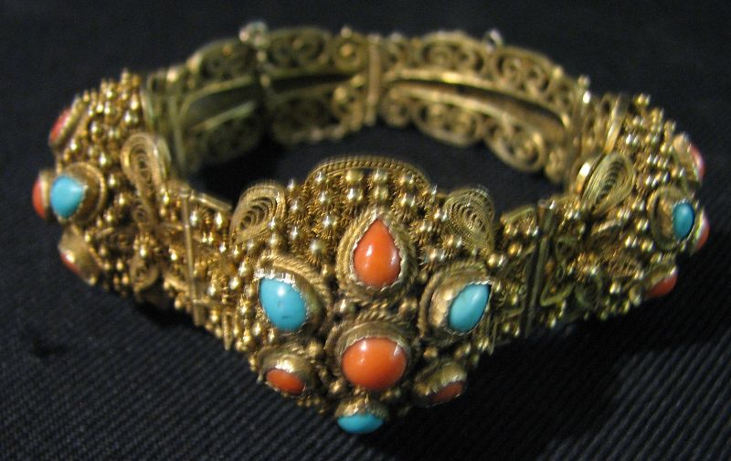 Chinese Silver Coral & Turquoise Bracelet