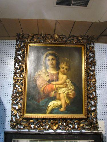 AntiquecSigned Original Oil on Canvas, Mother & Child