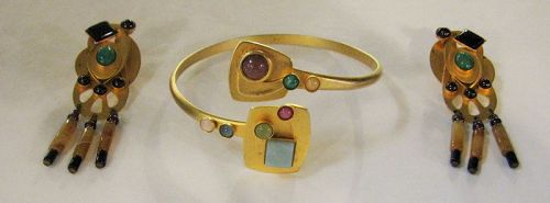 Vintage Gale Rothstein Gemstone Bracelet & Earrings