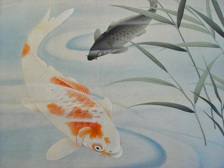 Japanese Fukusa, Carps in Pond, Large
