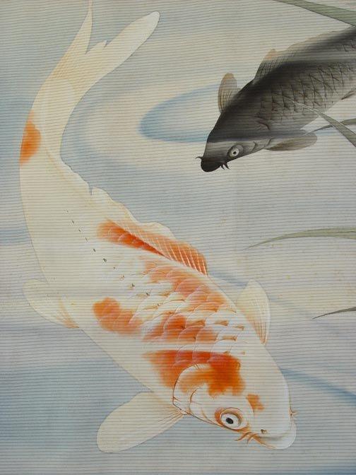 Japanese Fukusa, Carps in Pond, Large
