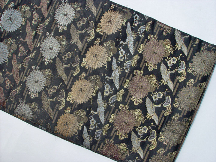 Antique Black Japanese Obi, Cranes and Chrysanthemums