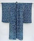 Antique kasuri kimono, hemp ikat