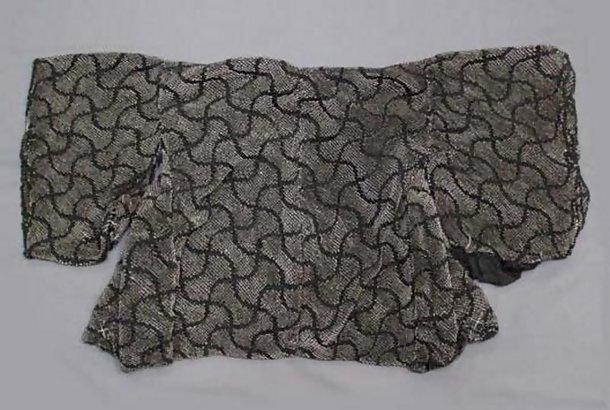 Old Black Silk Kanoko Tie-Dye Shibori