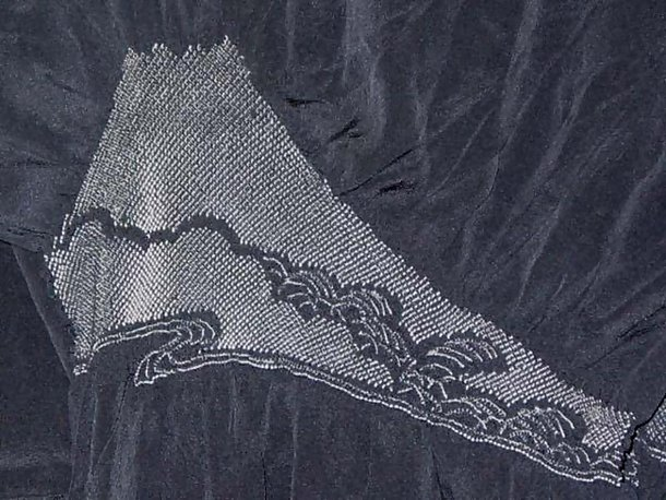 Silk Shawl with Tie-dyed Mt. Fuji Design