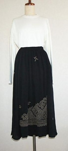 Black Silk Skirt with Shibori Tie-dye