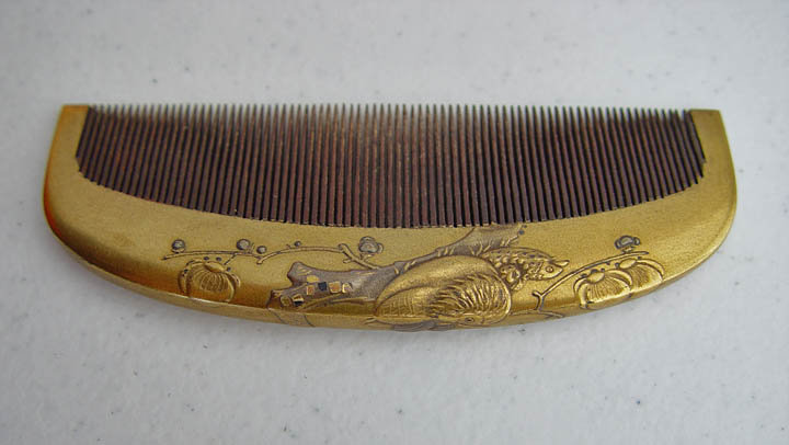 Antique Kanzashi Wood Hair Comb, Makie, Mandarin Ducks