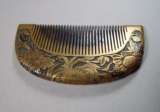 Antique Kanzashi Hair comb, Hand Carved Peony and a Rooster