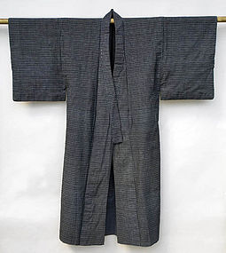 Japanese Kasuri Kimono, small pattern, Fully Lined