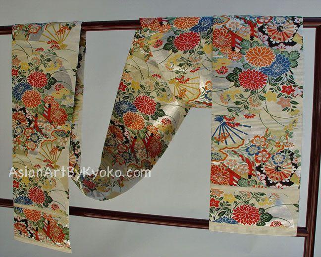 Summer Silk Obi, Flowers Fans in vivid colors