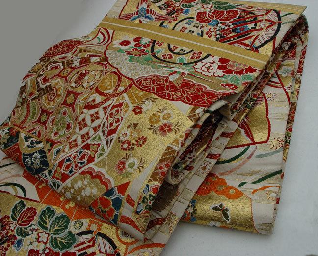 Japanese Silk Obi, Shell matching Box, Fans, phoenix ..