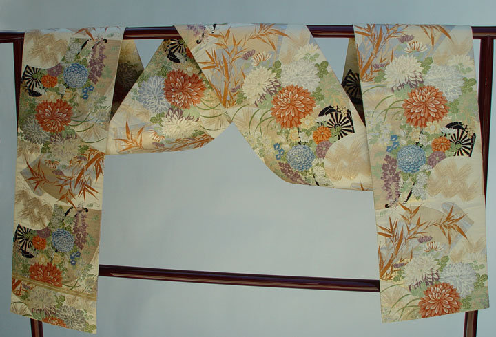 Japanese Silk Maru Obi with Flowers, Fans, Palace Cart