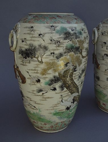 Large Pair of Satsuma Vases
