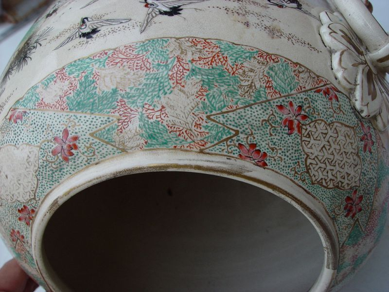Large Pair of Satsuma Vases
