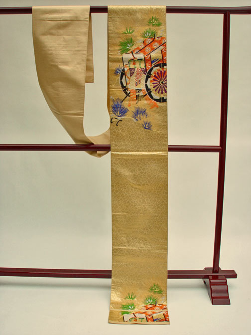 Japanese Silk Obi, Royal Carriage and Pines in Gold