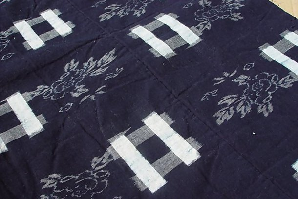 Kasuri Cotton Panel, Futon Cover, Indigo Dye