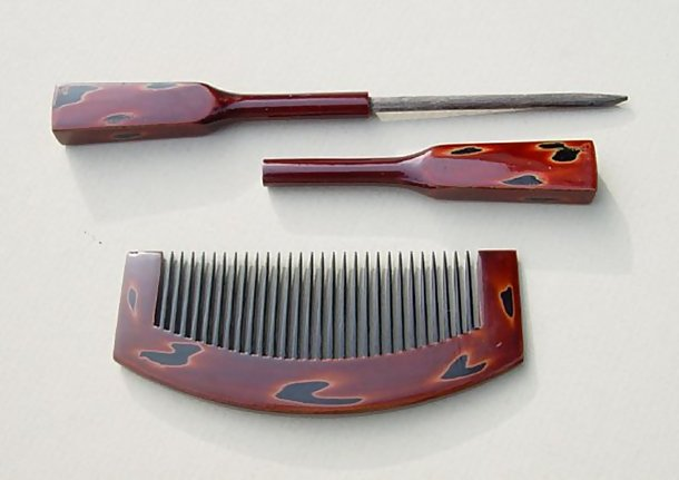 Japanese Antique Kanzashi Lacquer Hair Comb and Pin