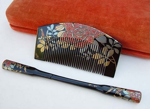 Japanese Lacquer Hair Comb and Pin Set #5