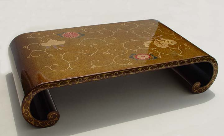 Japanese Makie Lacquer Okimono Stand for Flowers