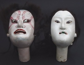 Large Kabuki Puppet Doll Heads