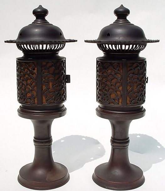 Japanese Old Bronze Lanterns