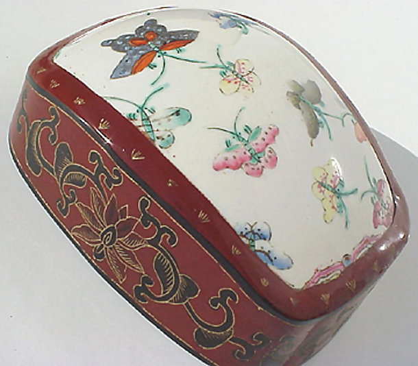Old ceramic in Chinese lacquer box