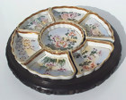 Beautiful Hand Painted Kutani Dishes in Wooden Tray