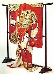 Artistic Japanese Wedding Gown with Cranes
