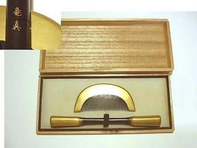 Japanese Kanzashi, Gold Comb and Hair Pin Set