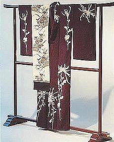Purple Silk Kimono with Chrysanthemums