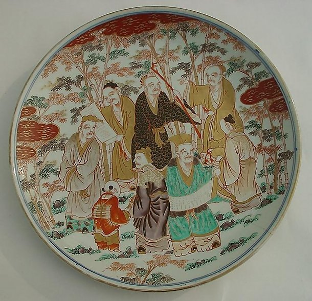 Large Imari Charger, Seven Sages of Bamboo Grove