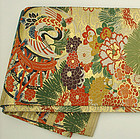 Japanese Silk Obi, Tsuzumi (drums), Cranes, Flowers