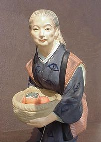 Hakata Doll, Old Woman with Persimmons