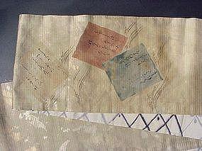 Old Japanese Silk Obi, Waka Poem