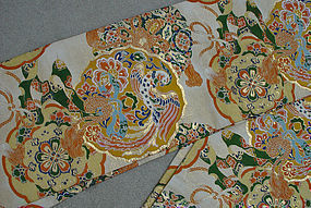 Formal Japanese Silk Obi, Old Mirrors in Nishijin Obi
