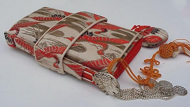 Woven Antique Japanese Tissue Holder with Kanzashi
