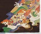 Beautiful Antique Colors in Old Black Silk Kimono